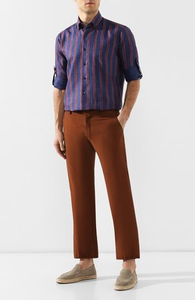 Мужская льняная рубашка ZILLI темно-синего цвета, арт. MFR-10603-17092/RZ01 | Фото 2