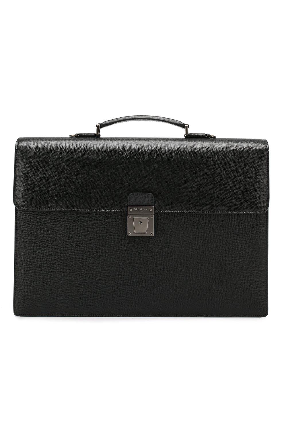 Мужской кожаный портфель evoluzione SERAPIAN черного цвета, арт. SEV0EMLL5971M40B | Фото 1