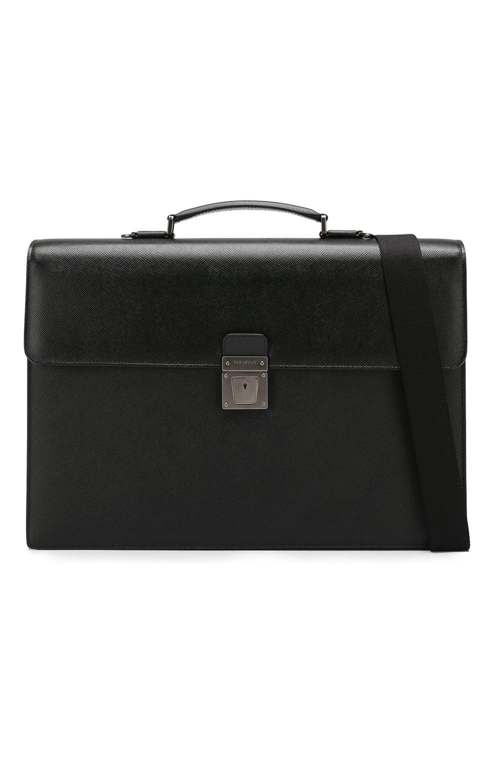 Мужской кожаный портфель evoluzione SERAPIAN черного цвета, арт. SEV0EMLL5971M40B | Фото 6