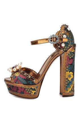 Текстильные босоножки Keira Dolce & Gabbana разноцветные | Фото №3