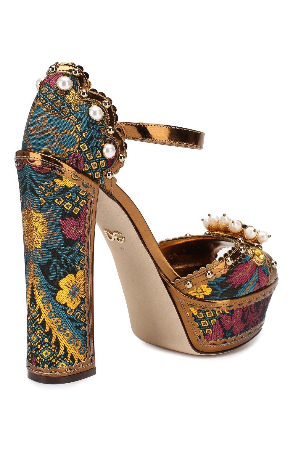 Текстильные босоножки Keira Dolce & Gabbana разноцветные | Фото №4