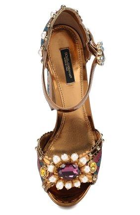 Текстильные босоножки Keira Dolce & Gabbana разноцветные | Фото №5