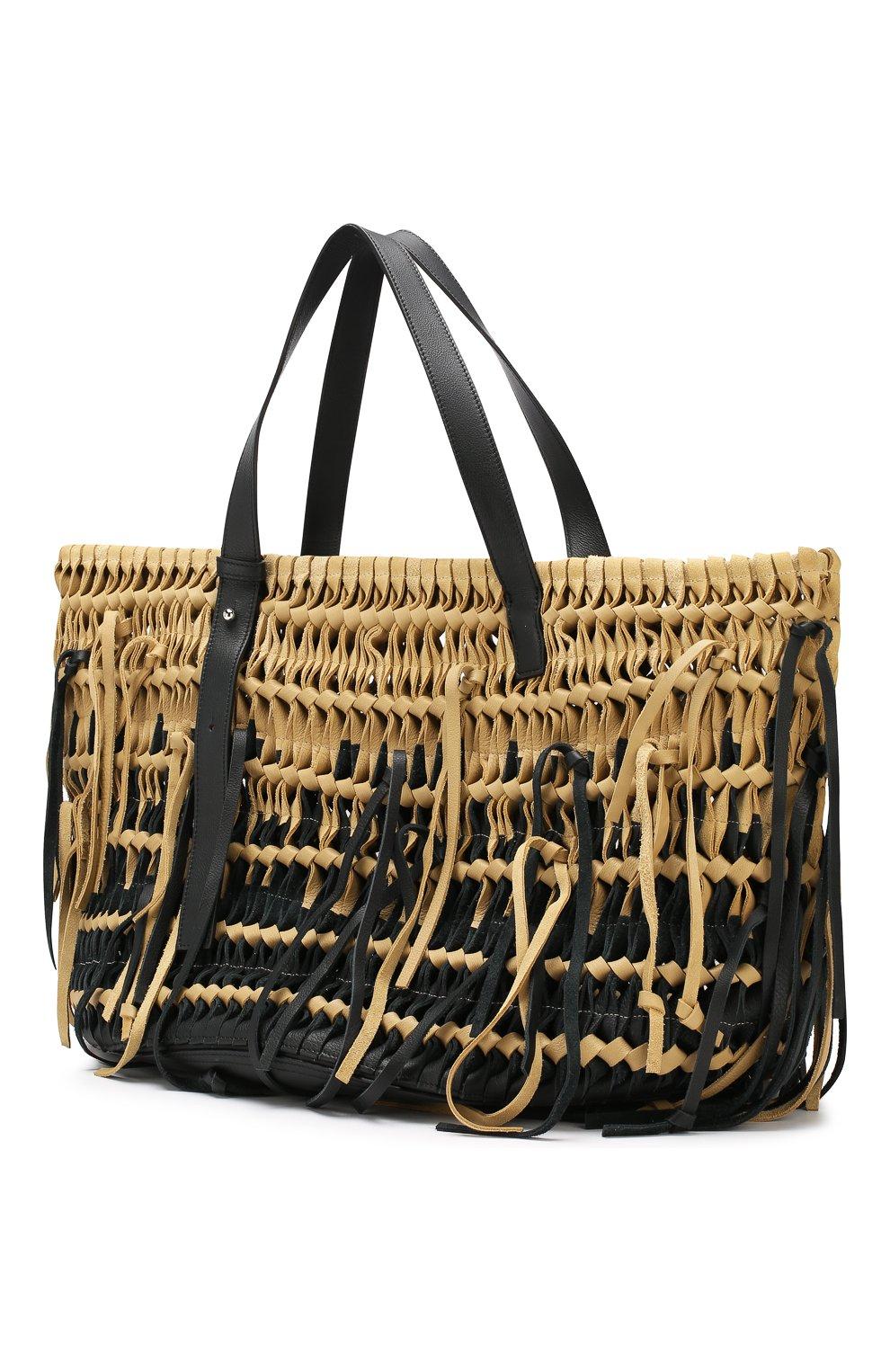 Женская сумка-тоут woven LOEWE черного цвета, арт. 327.30.U26 | Фото 3