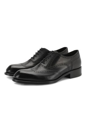 Мужские кожаные оксфорды BRIONI черного цвета, арт. QEDS0N/P6757 | Фото 1