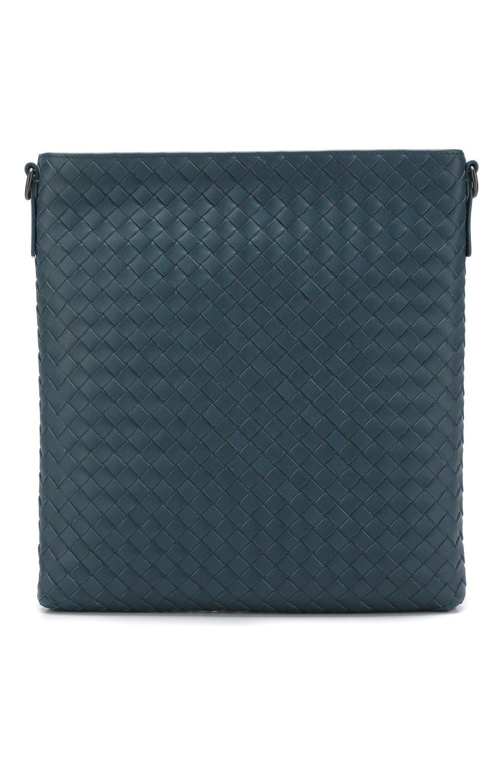 3a9521be08ad Кожаная сумка-планшет с плетением intrecciato Bottega Veneta синяя | Фото №1