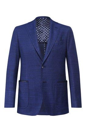 Мужской пиджак из смеси шелка и хлопка ZILLI синего цвета, арт. MNR-ECX3-1-56225/2600   Фото 1