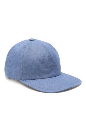 Мужской льняная бейсболка LORO PIANA синего цвета, арт. FAI6430 | Фото 1