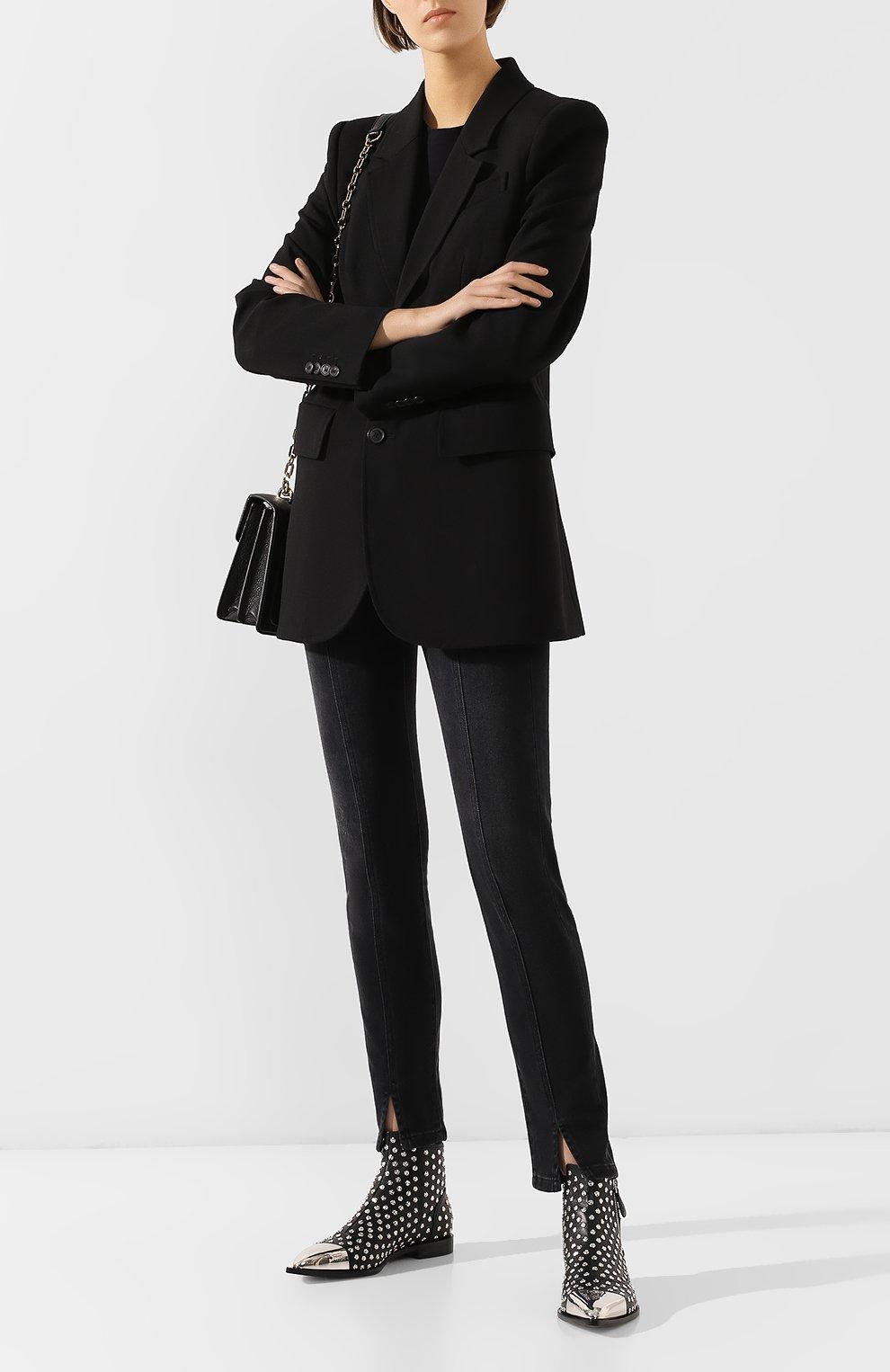 Кожаные ботинки Alexander McQueen черные   Фото №2