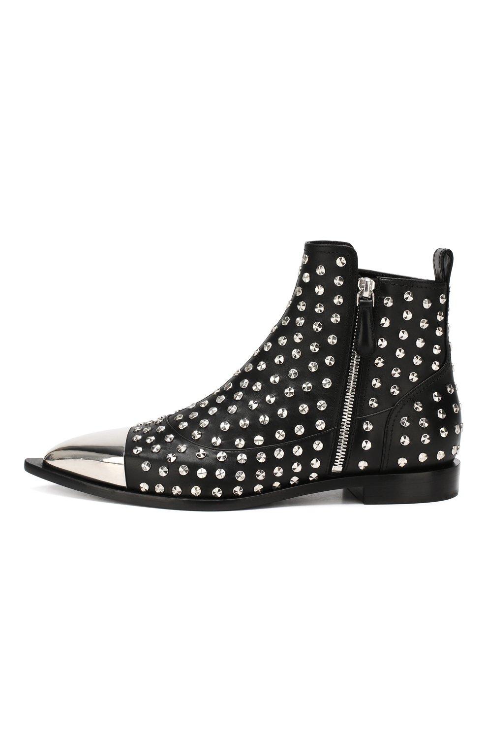 Кожаные ботинки Alexander McQueen черные   Фото №3