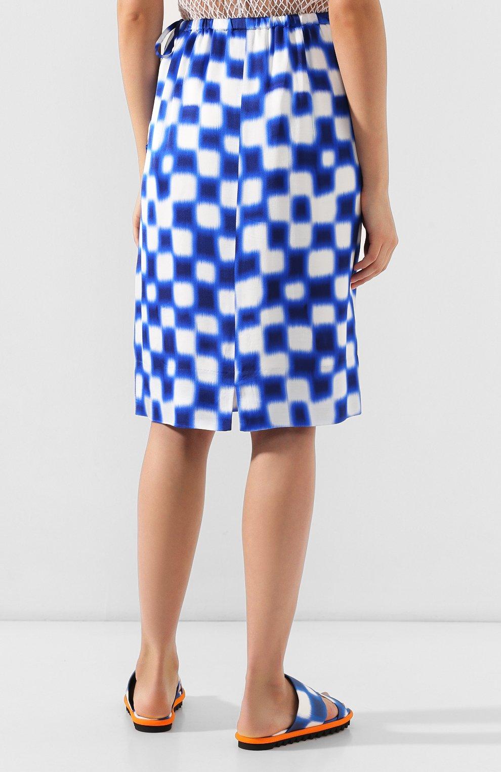 Женская юбка из вискозы DRIES VAN NOTEN синего цвета, арт. 191-10845-7010 | Фото 4
