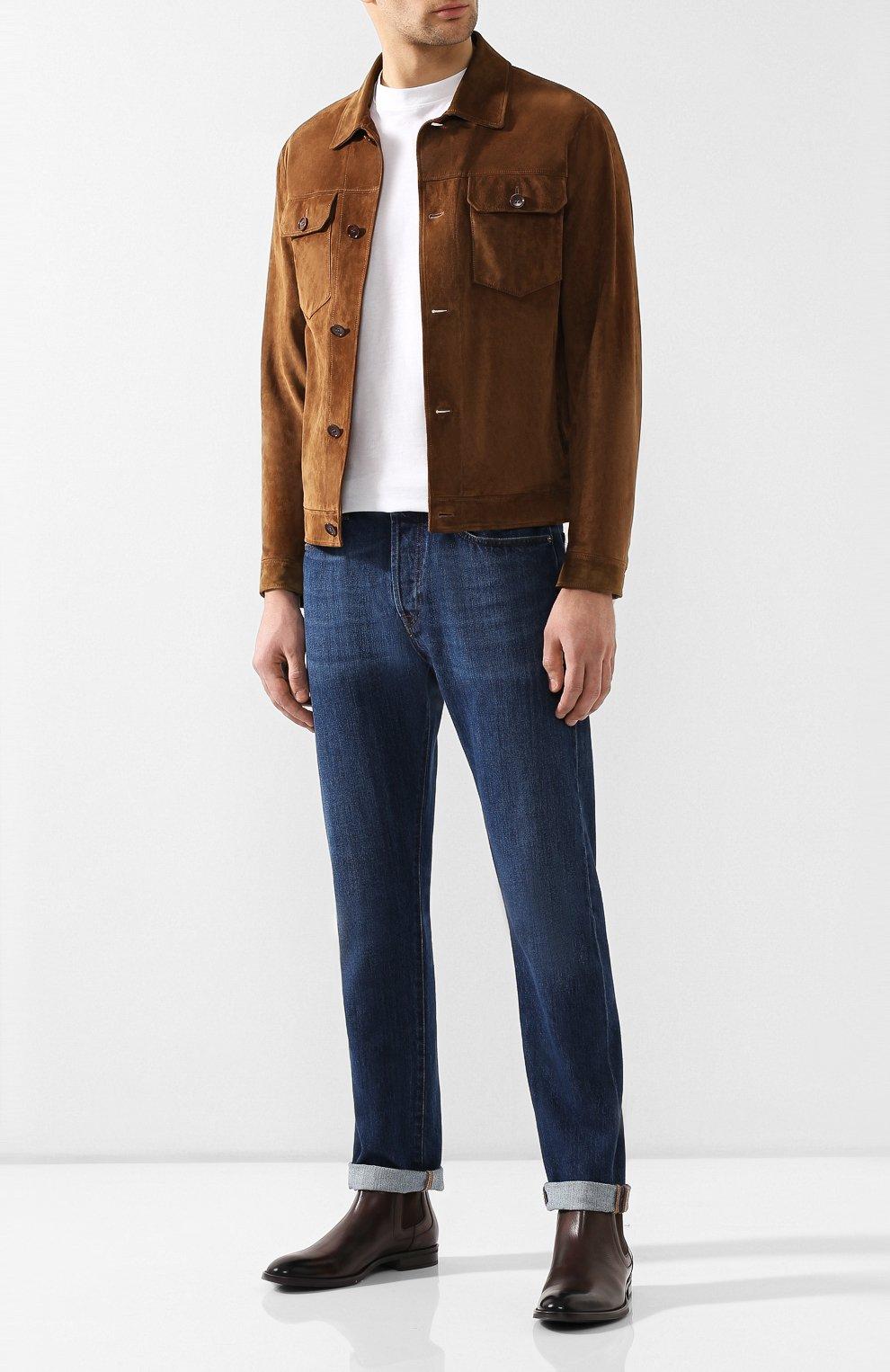 Мужские кожаные челси BOSS коричневого цвета, арт. 50403074   Фото 2