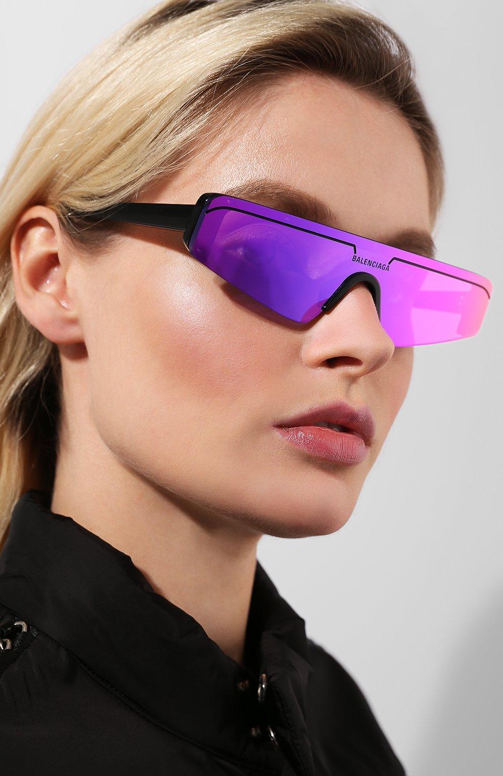 Женские солнцезащитные очки BALENCIAGA фиолетового цвета, арт. BB0003 003 | Фото 2
