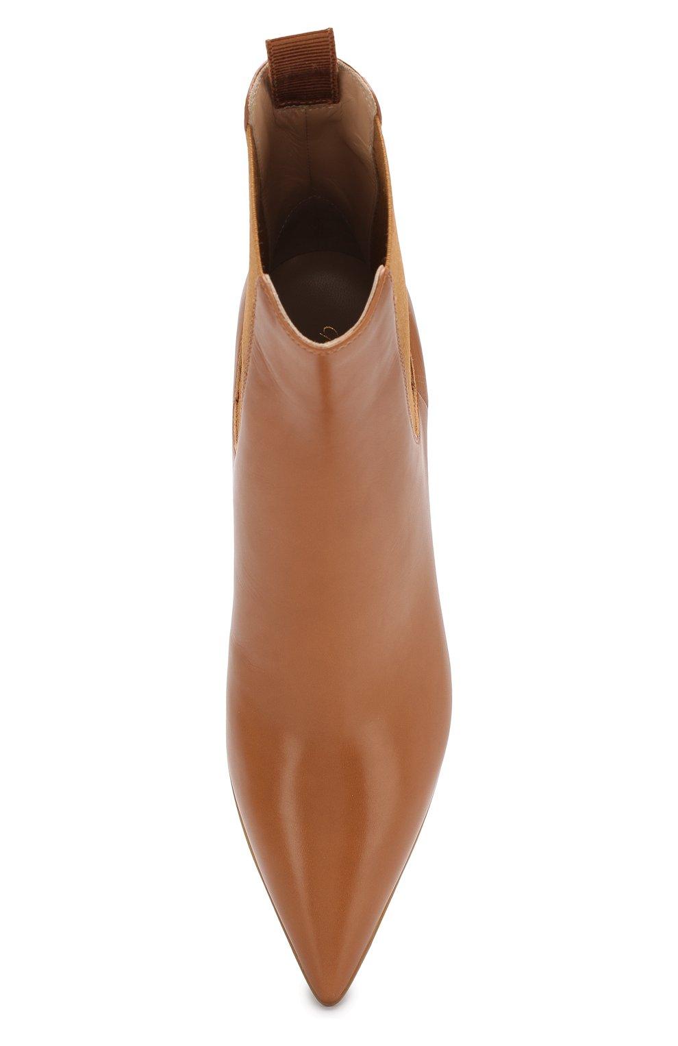 Кожаные ботильоны Gianvito Rossi светло-коричневые   Фото №5