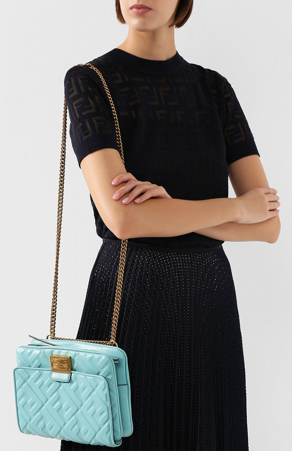 Поясная сумка Upside Down Fendi бирюзовая | Фото №5