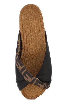 Текстильные шлепанцы Fendi черные | Фото №5