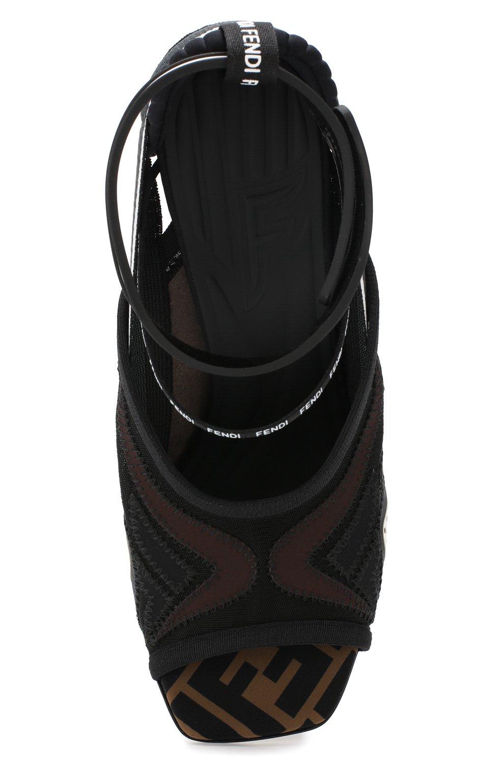 Текстильные босоножки Fendi коричневые | Фото №5