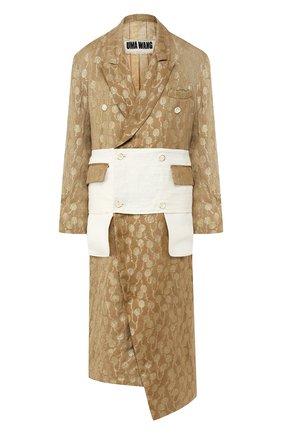 Пальто из смеси льна и шелка | Фото №1