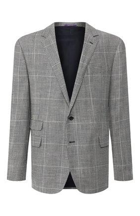 Мужской пиджак из смеси шерсти и шелка RALPH LAUREN черно-белого цвета, арт. 798741045 | Фото 1