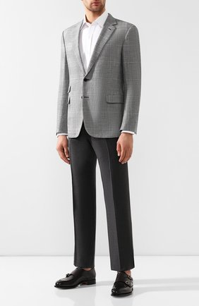 Мужской пиджак из смеси шерсти и шелка RALPH LAUREN черно-белого цвета, арт. 798741045 | Фото 2