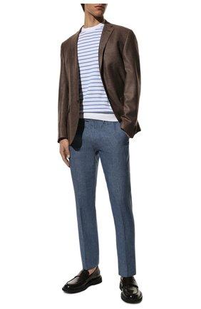 Мужской льняные брюки  BERWICH голубого цвета, арт. SC/1/LM104 | Фото 2