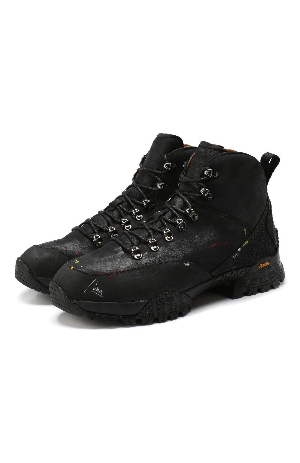 Мужские комбинированные ботинки ROA черного цвета, арт. VAR092   Фото 1 (Материал внешний: Текстиль; Мужское Кросс-КТ: Хайкеры-обувь, Ботинки-обувь; Материал внутренний: Натуральная кожа, Текстиль; Статус проверки: Проверено, Проверена категория; Подошва: Плоская)