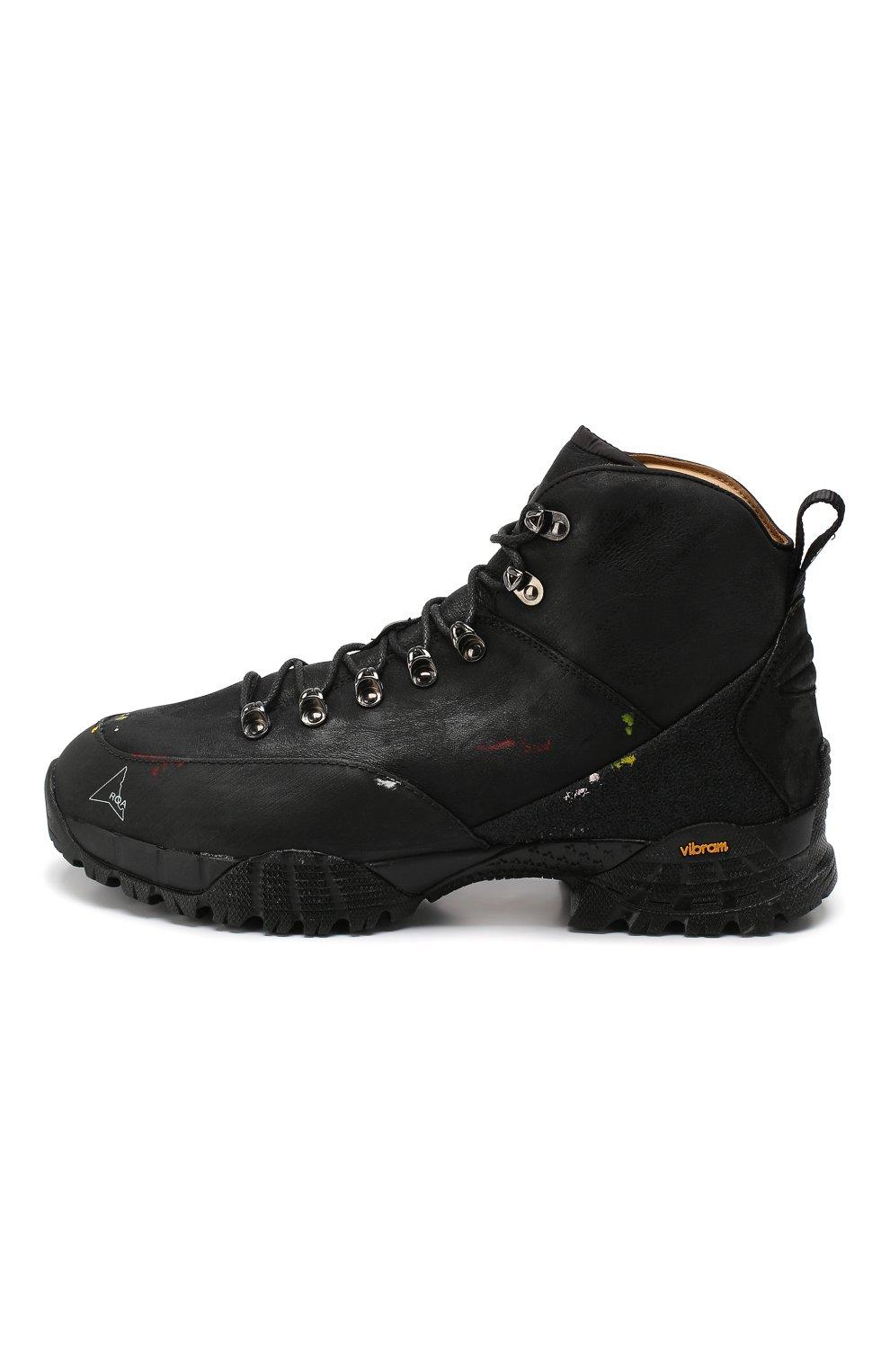Мужские комбинированные ботинки ROA черного цвета, арт. VAR092   Фото 3 (Материал внешний: Текстиль; Мужское Кросс-КТ: Хайкеры-обувь, Ботинки-обувь; Материал внутренний: Натуральная кожа, Текстиль; Статус проверки: Проверено, Проверена категория; Подошва: Плоская)