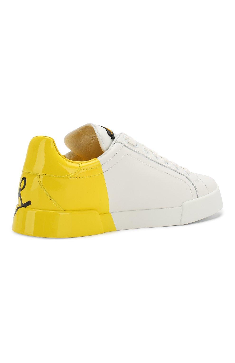 Женские кожаные кеды portofino DOLCE & GABBANA желтого цвета, арт. CK0124/AI053 | Фото 4