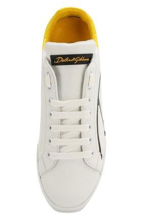Женские кожаные кеды portofino DOLCE & GABBANA желтого цвета, арт. CK0124/AI053 | Фото 5