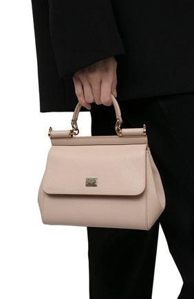 Женская сумка sicily small DOLCE & GABBANA светло-бежевого цвета, арт. BB6003/A1001   Фото 2 (Материал: Натуральная кожа; Сумки-технические: Сумки через плечо, Сумки top-handle; Ремень/цепочка: На ремешке; Размер: small)