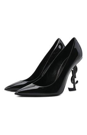 Женская лаковые туфли opyum SAINT LAURENT черного цвета, арт. 472011/0NPVV | Фото 1