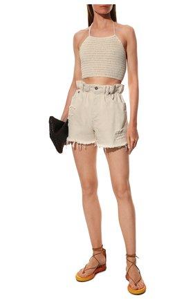 Женские текстильные сандалии wave CHLOÉ желтого цвета, арт. CHC19U16865 | Фото 2