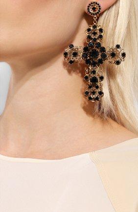 Серьги-клипсы с отделкой кристаллами Swarovski Dolce & Gabbana золотые | Фото №2