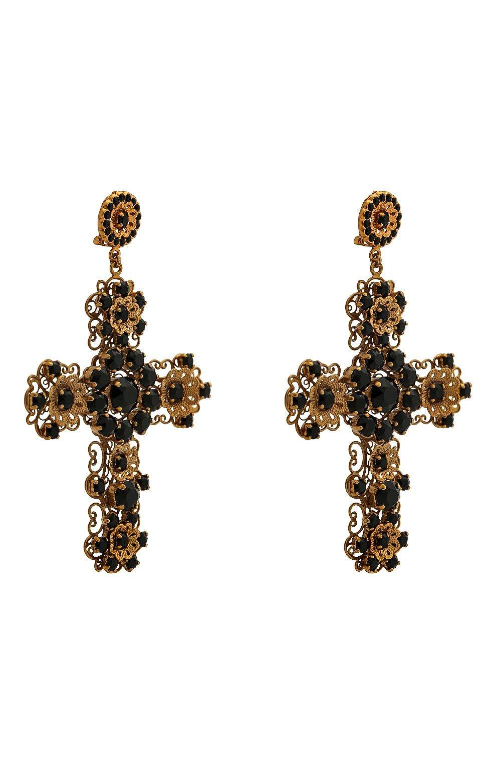 Серьги-клипсы с отделкой кристаллами Swarovski Dolce & Gabbana золотые | Фото №3