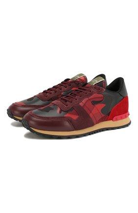 Мужские комбинированные кроссовки valentino garavani rockrunner camouflage VALENTINO красного цвета, арт. RY2S0723/TCC | Фото 1