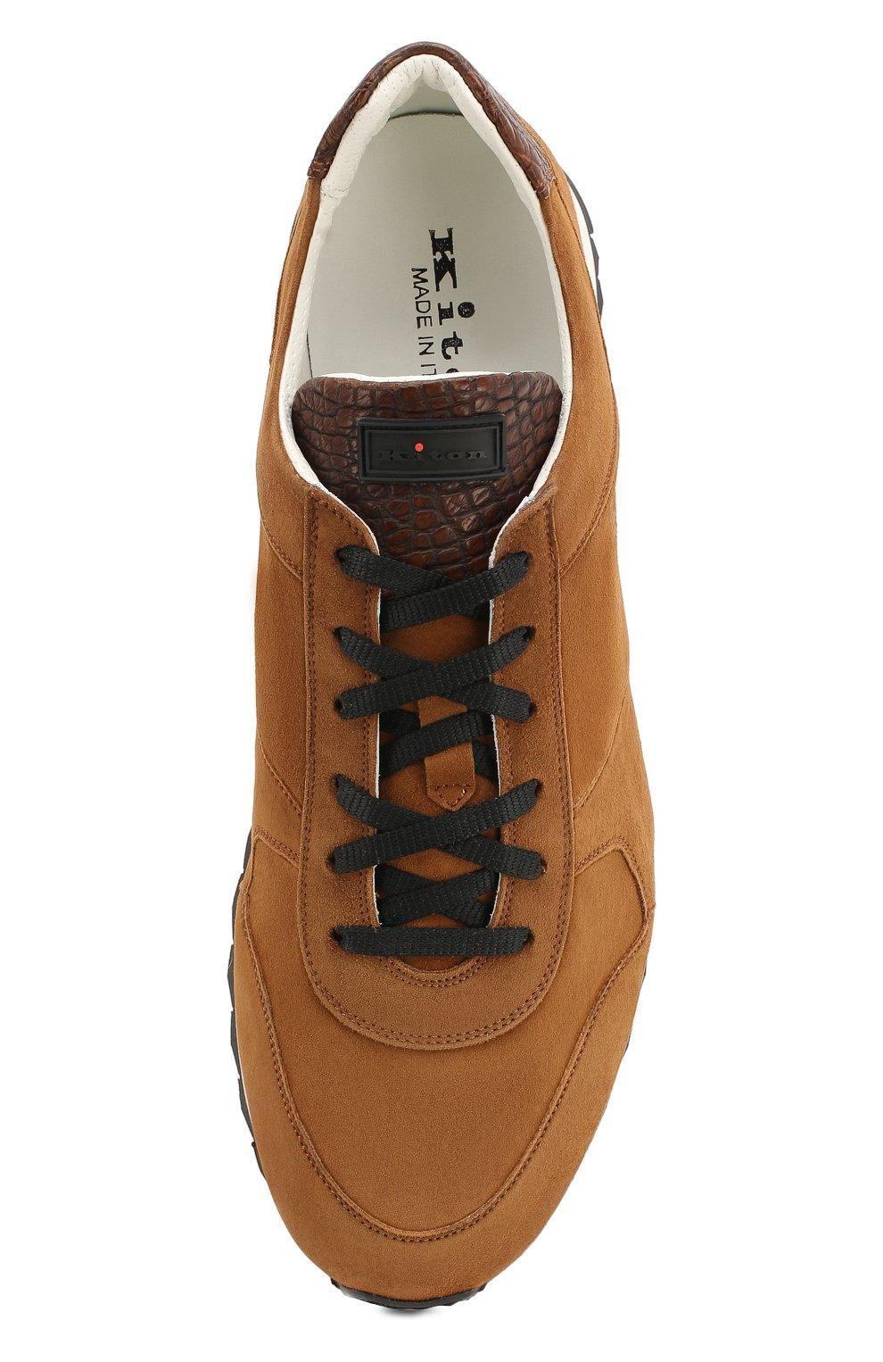 Замшевые кроссовки с отделкой из кожи крокодила | Фото №5