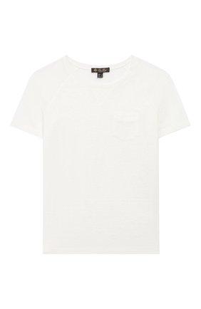 Детская льняная футболка LORO PIANA белого цвета, арт. FAG2005 | Фото 1