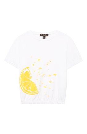 Детская хлопковая футболка LORO PIANA белого цвета, арт. FAI4839 | Фото 1