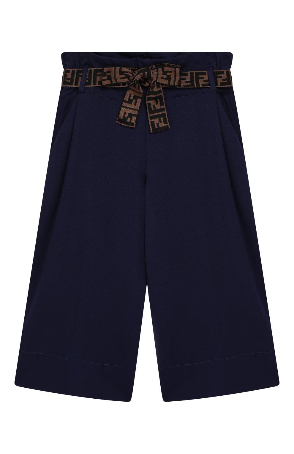 Детские укороченные брюки из вискозы FENDI синего цвета, арт. JFF141/A6IK/6A-8A   Фото 1