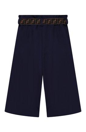 Детские укороченные брюки из вискозы FENDI синего цвета, арт. JFF141/A6IK/6A-8A   Фото 2