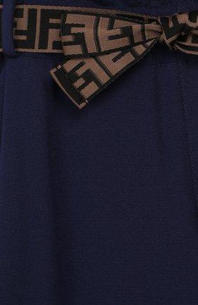 Детские укороченные брюки из вискозы FENDI синего цвета, арт. JFF141/A6IK/6A-8A   Фото 3