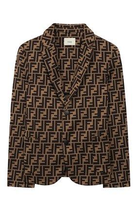 Детский хлопковый пиджак FENDI коричневого цвета, арт. JMA137/A6A6/6A-8A | Фото 1