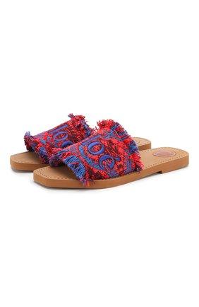 Комбинированные шлепанцы Woody  Chloé красные | Фото №1