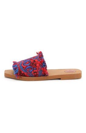 Комбинированные шлепанцы Woody  Chloé красные | Фото №3