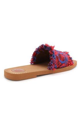 Комбинированные шлепанцы Woody  Chloé красные | Фото №4