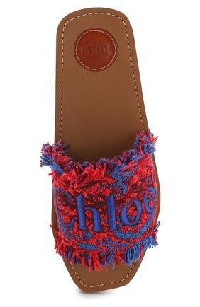 Комбинированные шлепанцы Woody  Chloé красные | Фото №5