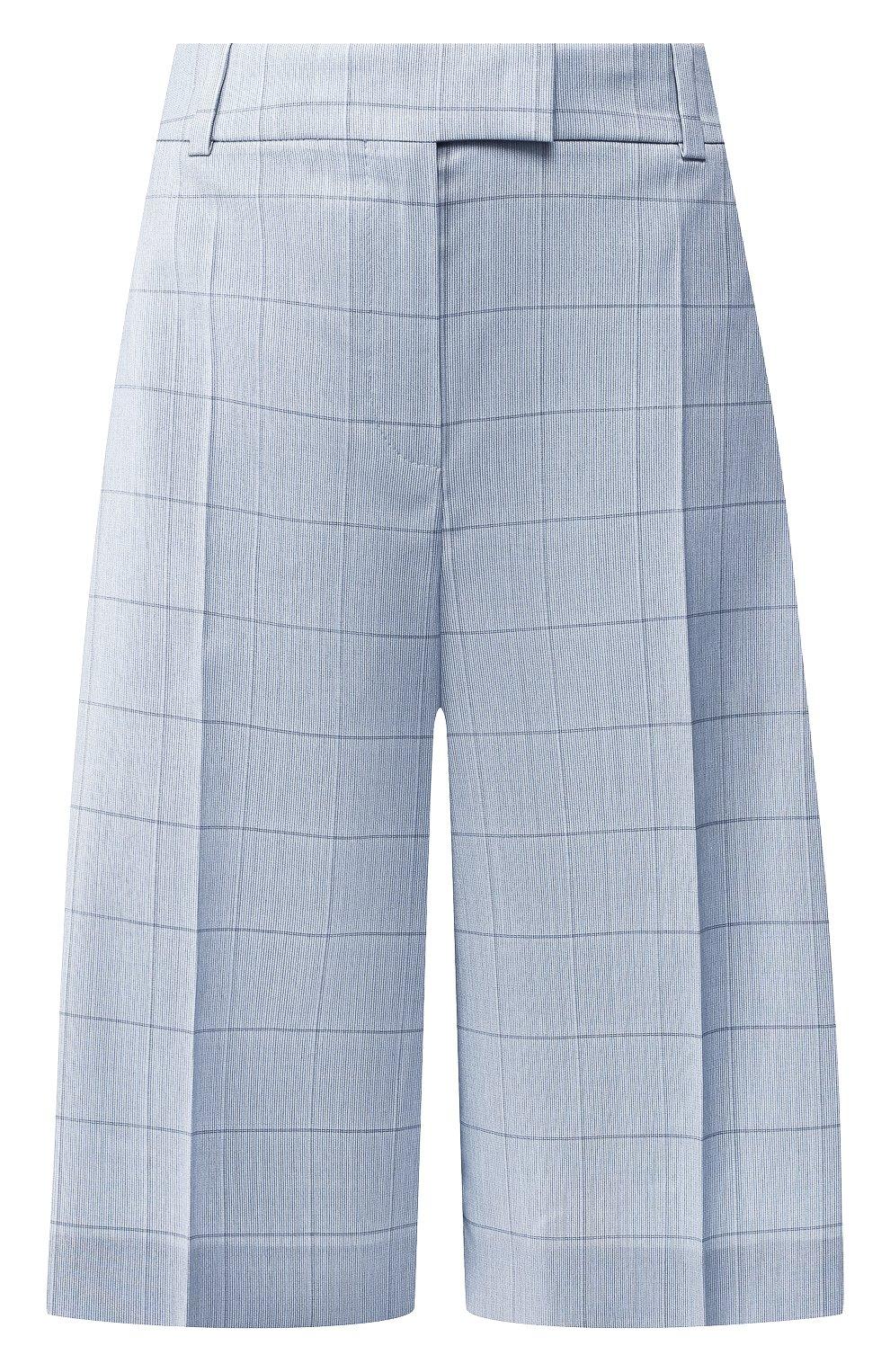 Женские шорты из смеси шерсти и шелка BOSS голубого цвета, арт. 50404758 | Фото 1