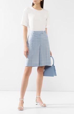 Женские шорты из смеси шерсти и шелка BOSS голубого цвета, арт. 50404758 | Фото 2
