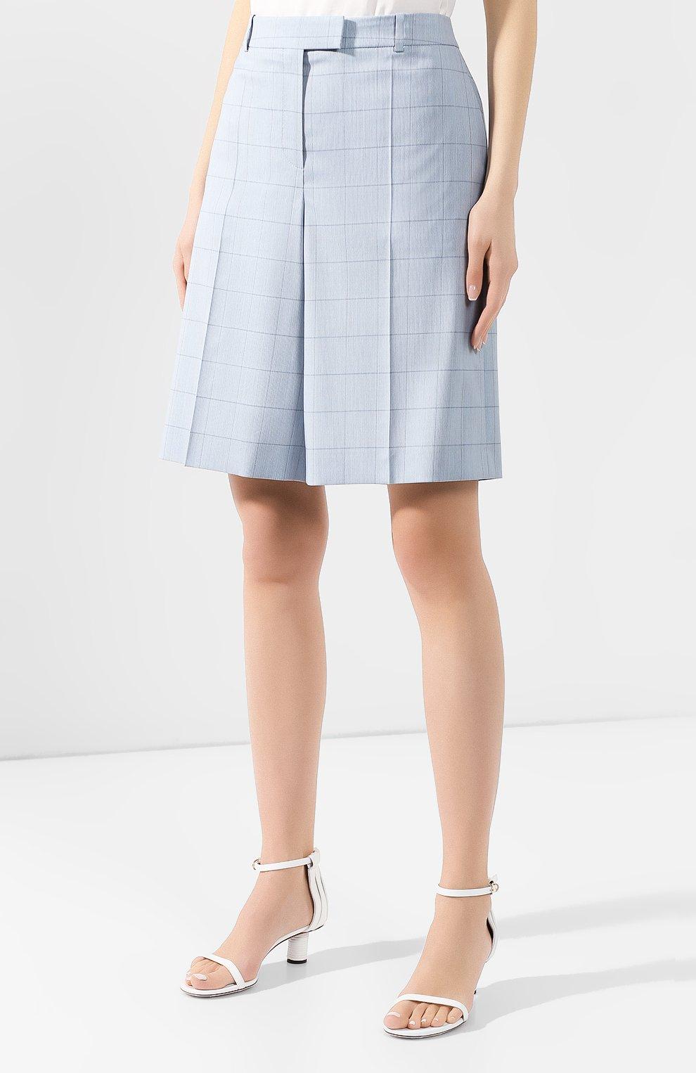 Женские шорты из смеси шерсти и шелка BOSS голубого цвета, арт. 50404758 | Фото 3