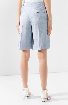 Женские шорты из смеси шерсти и шелка BOSS голубого цвета, арт. 50404758 | Фото 4
