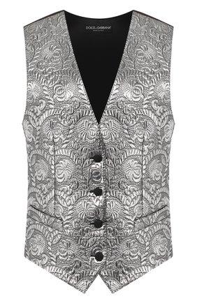 Женский жаккардовый жилет DOLCE & GABBANA серебряного цвета, арт. F79S2T/FJMZ3 | Фото 1
